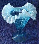 Fenton Compote Threaded Diamond Blue
