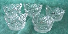 Cut Crystal Salts (6) Basket Shape Design