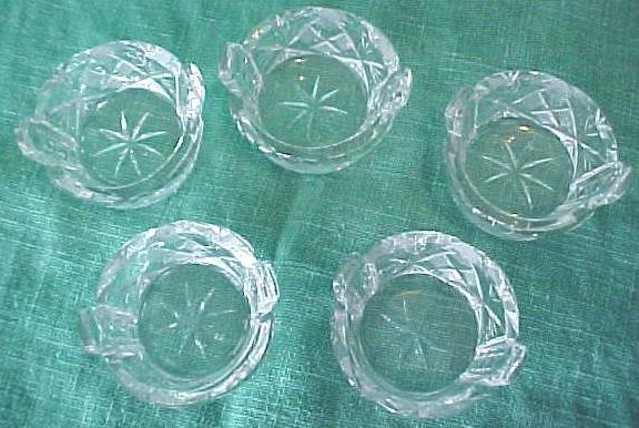 Cut Crystal Salts (6) Basket Shape Design