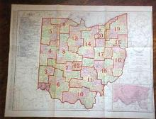 Antique Map Ohio Railway & County Platt Map 1909 Large Foldout