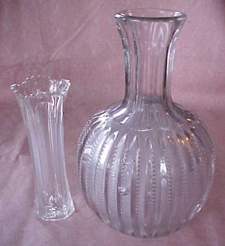 Pressed Glass Water Bottle & Vase