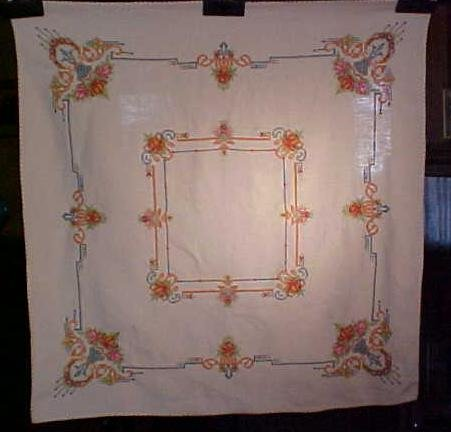 Table Topper Floral Embroidered Linen Fancy