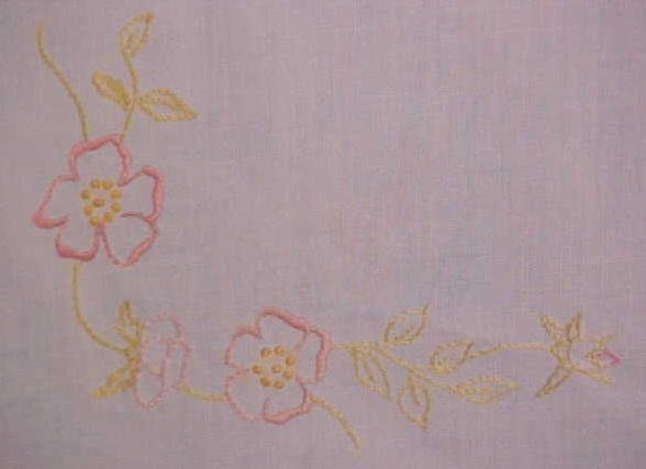 Table Topper Floral  Embroidery Linen Leg Ties