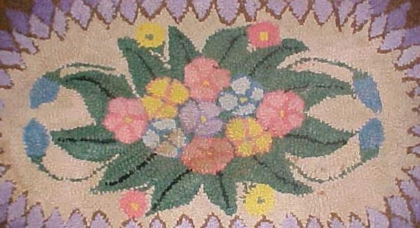 Primitive Hooked Rug Oval Floral