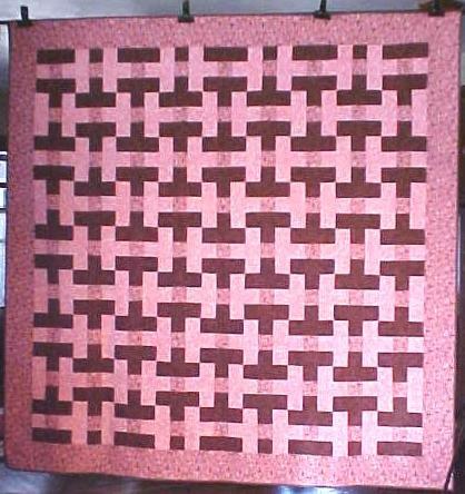 Quilt Basket Weave Pink Brown 88x89 Queen Sz