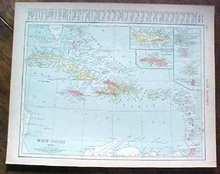 Antique Map West Indies Cuba Porto Puerto Rico 1915 Great Colors