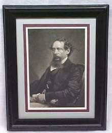 Charles Dickens Engraving 1860 Framed