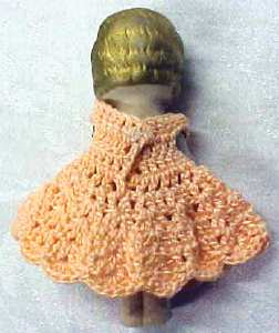 All Bisque Miniature Doll  Peach Dress