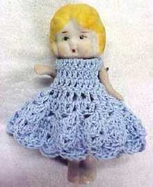 All Bisque Miniature Doll  Blue Dress