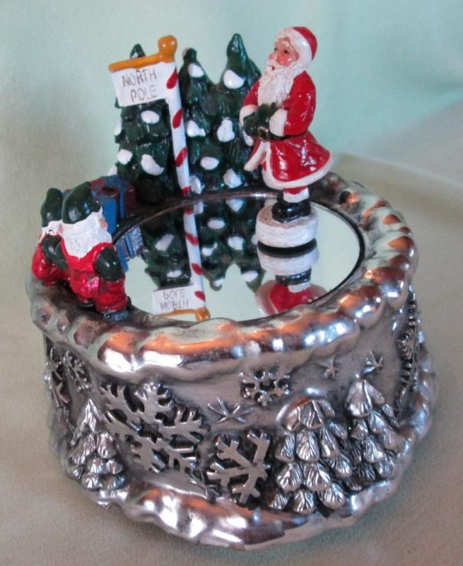 Twirling Santa Music Box Jingle Bells