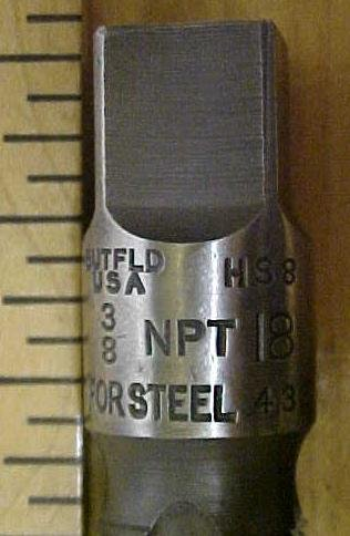 Union Twist Pipe Tap 3/8 inch NPT for Steel Butterfield