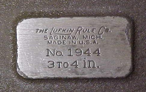 Lufkin No. 1944  Micrometer 3-4 inch