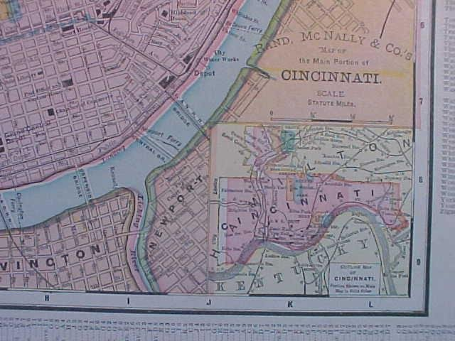 Map Ohio & Cincinnati 1907 Rand McNally
