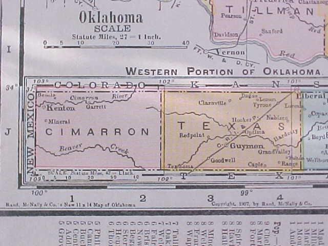 Map Texas & Oklahoma 1907 Rand McNally