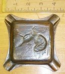 Ashtray Cast Iron Hunting Dog Bird Decoration Rare!