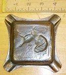 Ashtray Cast Iron Hunting Dog Bird Decoration Rare!