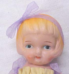 Miniature Bisque Doll Vintage Dress