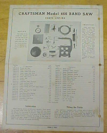 Craftsman Model 466 Band Saw Instructions Parts List
