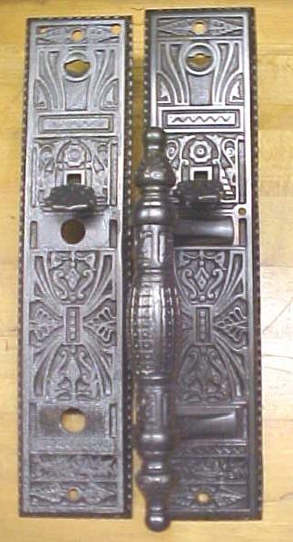 Ornate Door Plate Set Antique Store Handle Cast Iron