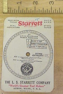 Starrett Screw Thread Calculator on a Card