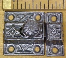 Antique Cupboard Latch Cast Iron Ornate Design