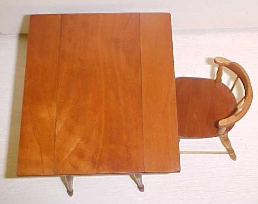 Doll House Wood Drop Leaf Table + Chair