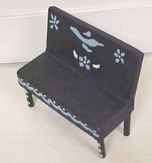 Dollhouse Bench Furniture Hand Painted Primitive