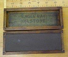 Eagle Bay Oilstone w/Wood Box Antique 6 inch