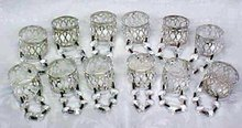 Silver Plated Napkin Rings Prisms 12 PC Vintage