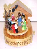 Music Box Wood Manger Christmas