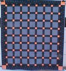 Throw Quilt 66 x 72 Black Salmon Blue Custom Quilted