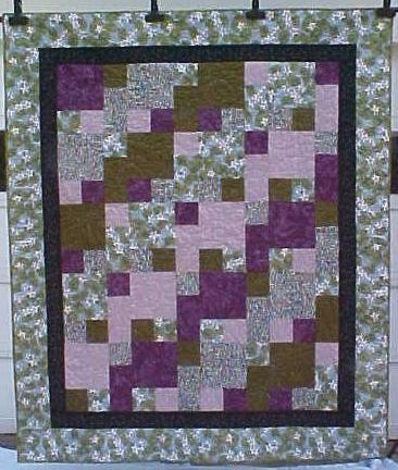 Throw Quilt  64 x 76 My Little Chickadee Purples Greens