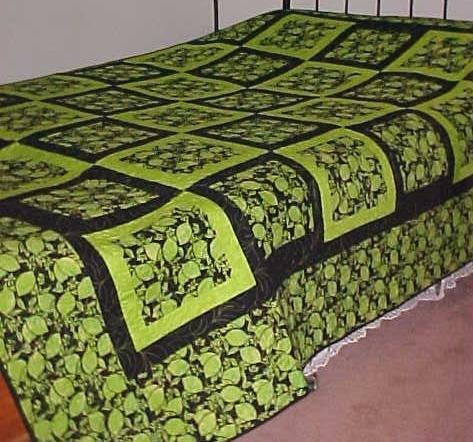 Quilt Batik King 102 x 102 Limes Blacks Modern