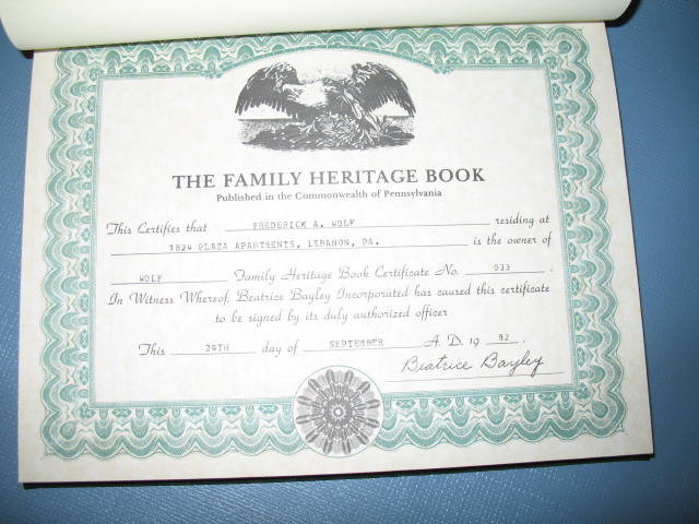 The Wolf Family Heritage Book published by Beatrice Bayley, Inc.