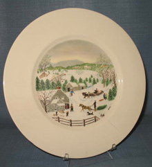 Atlas China Grandma Moses Out for the Christmas Tree dinner plate