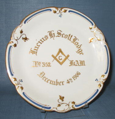 Lucius Scott Lodge No. 352 F&AM masonic lodge plate, 1906
