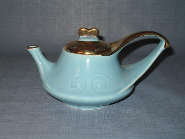 Modern China Co. Sebring, Ohio 22 KT. gold trimmed blue teapot