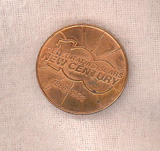 Celebrating Sears New Century 1886-1986 commerative coin