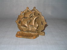 Cast iron sailing ship bookends