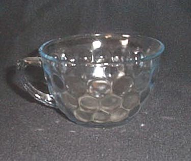 Anchor Hocking Bubble or Bullseye Provincial Depression glass sapphire blue cup
