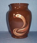 Fishley Holland redware brown glazed swan vase