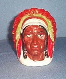 Niagara Falls Indian Chief souvenir pottery bank