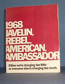 1968 Javelin, Rebel, American, Ambassador sales pamphlet, Quakertown, PA