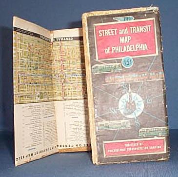 1953 Street and Transit Map of Philadelphia from Philadlphia Transportation Company