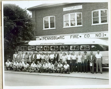 Pennsburg Fire Co. No. 1, Pennsburg, PA with vintage Perkiomen Valley bus