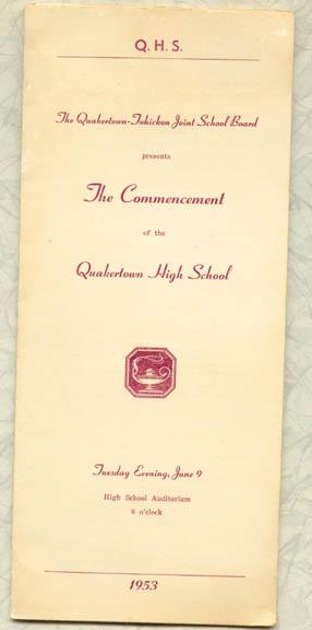 1953 Quakertown High School, Quakertown, PA commencement program