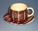 Purinton Brown Intaglio cup and saucer
