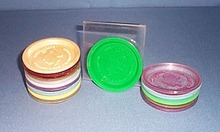 15 Vulcanized Rubber and Plastics Company plastic adverting coasters