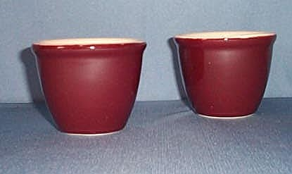 2 Shenango China New Castle burgundy custard cups