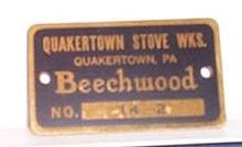 Quakertown Stove Works, Quakertown, PA Beechwood stove metal label